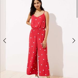 LOFT Polka Dot Wide Leg Crop Jumpsuit with Pockets